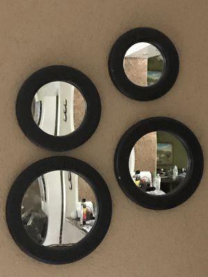 Wall fixture round mirror set.