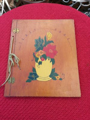 Antique Folk Art Decorative Wood Scrap Book
