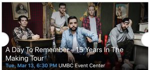 A DAY TO REMEMBER CONCERT TICKET