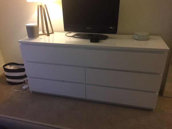 Ikea malm 6 drawer dresser white furniture in san jose ca - Malm frisiertisch weiay ...