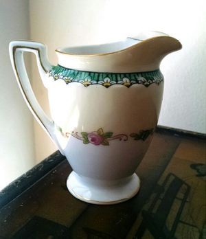 """Noritake Creamer with Gold Accents and Daisy Panels 3.5"""" x 4.5"""""""