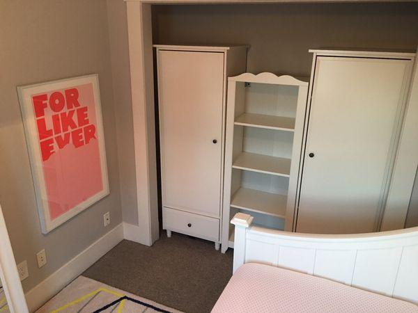 Ikea hemnes children 39 s wardrobe white furniture in for Bedroom furniture 98409