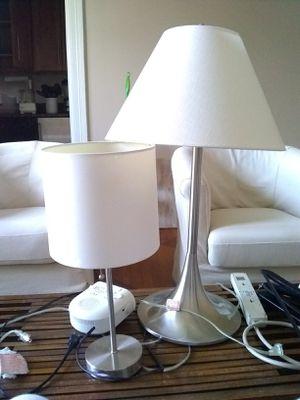 Pretty white and silver lamps