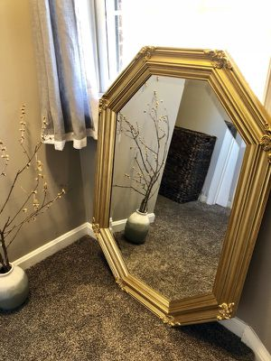 Large octagon golden gilded mirror