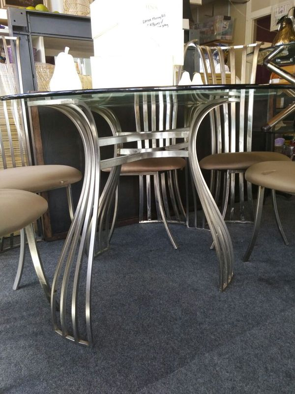 Metal and glass dining table and chair set furniture in for Furniture bremerton