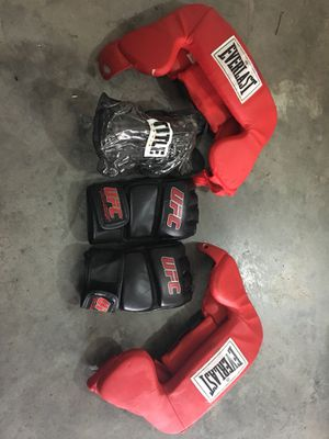 Two Headgear, Sparring Gloves, & Jump Rope