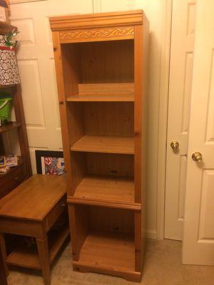 Oak wooden shelf with light