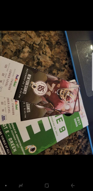 Redskins vs York giants and parking pass
