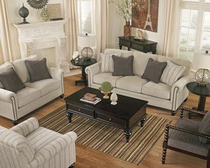 Linen Sofa with nailhead accents