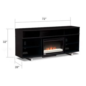 """72"""" Contemporary Fireplace TV Stand - Black"""