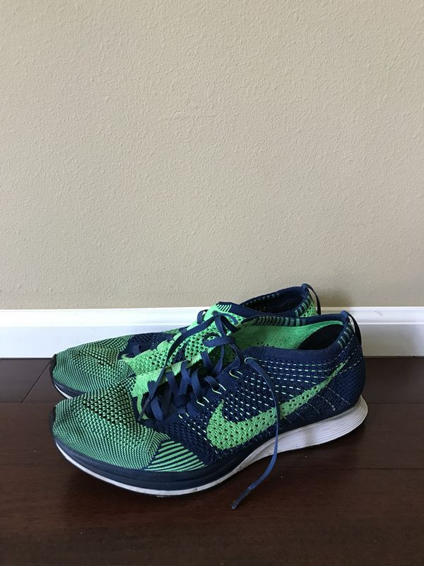 6a089937e5ec Nike Flyknit Racer Brave Blue Poison Green (Clothing   Shoes) in Puyallup