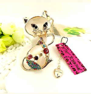 Betsey Johnson gold plating crystal cat sweater chain necklace Pendant