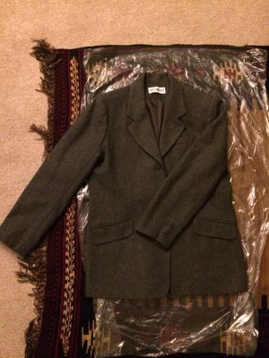 Gray White Stag Ladies Wool Jacket Medium Size