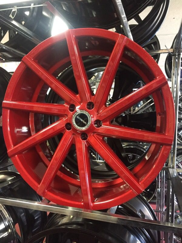22 Inch Strada Sega Wheels In Red Finish Complete Package