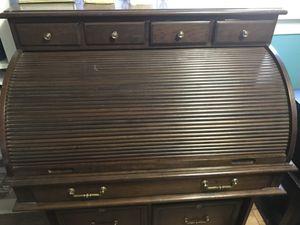 Solid Hard Wood Roll Top Desk