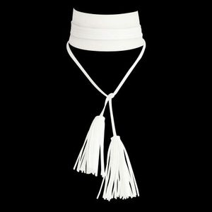 White Faux Leather Wrap Choker w Tassels