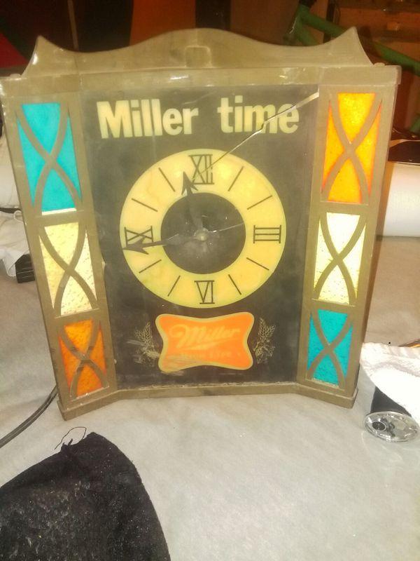 Vintage miller high life beer miller time stained glass bar light vintage miller high life beer miller time stained glass bar light clock aloadofball Choice Image