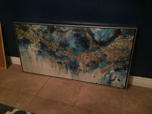 Oil Painting from Kirkland's. Wall Art. Changing decor and wanted to sell. $90, OBO. Colors gold(s) and blue(s).