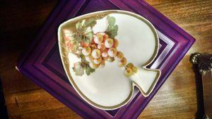 PT Tirschenreuth Bavaria China Spade Shaped Candy Dish Gold Accents