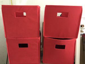 Set of 4 red storage bins