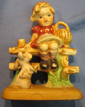 Vintage Little Girl with Dog Figurine