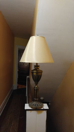 Antique 32 inch tall heavy metal lamps beautiful