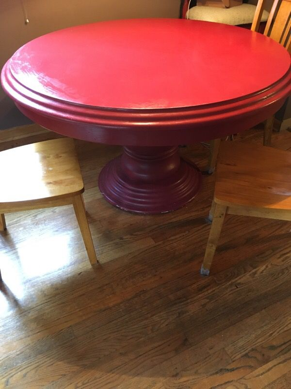 52 inch round solid wood table with 3 chairs
