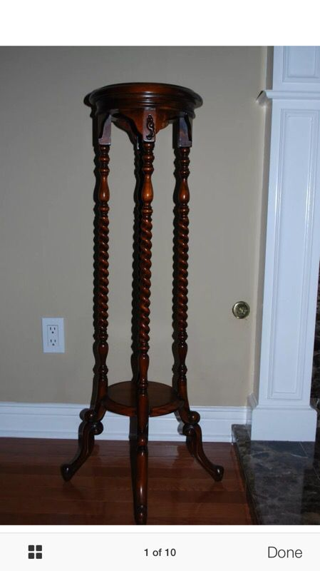 Antique Mahogany Two Tier Barley Twist Plant Stand ...