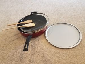 Non stick pan ,wooden spoons