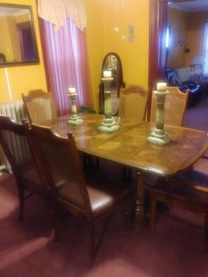 Dining Room Table And 6Chairs Set With 2Extenders China Cabinet Good Condition Chairs Reinforce