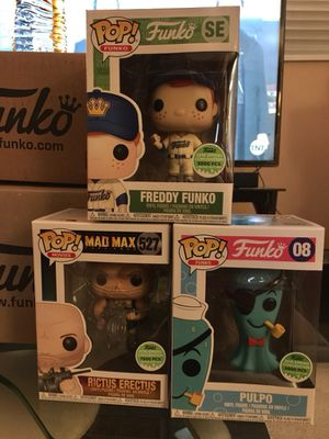 Funko Pop Freddy, mad max rictus erect us and Splastik plastik blue pulpo