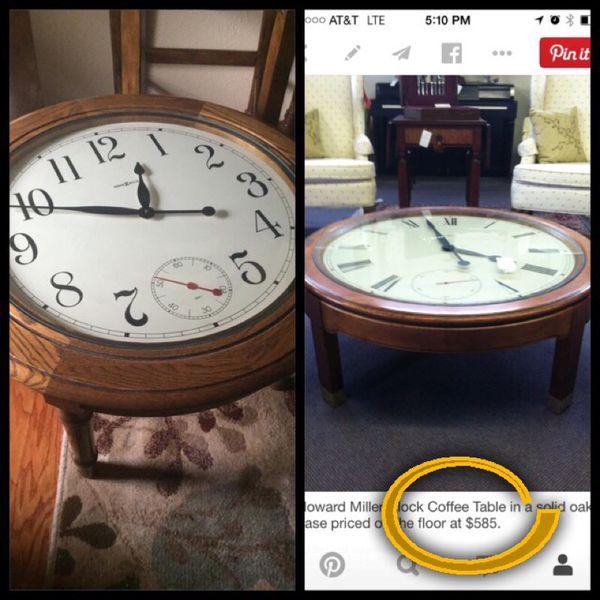 Howard Miller Oak Coffee Table Clock