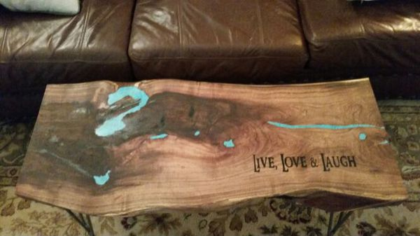 Live Edge Mesquite Slab Coffee Table With The Cracks And Voids All Filled Crushed Turquoise Stone