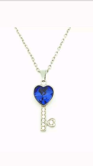 Blue Rhinestone Key Necklace