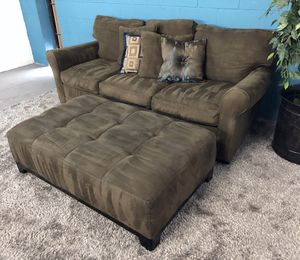 ***Cindy Crawford Olive Green Fabric Sofa w/ Oversized Ottoman (Free Delivery)