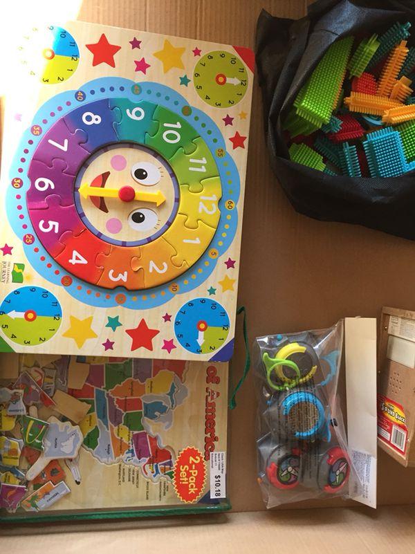 Coloring books, books, crayons, white board chalk board, keyboard ...