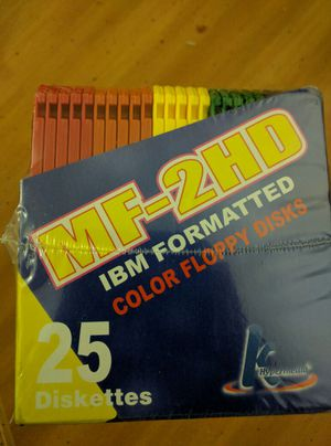 (25 Diskettes) MF- 2HD IBM FORMATTED COLOR FLOPPY DISK -
