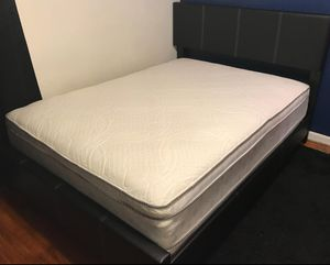 Brand New Full Size Leather Platform Bed + Pillowtop Mattress