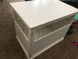Nice white end table kennel/ dog crate