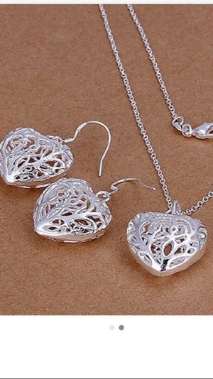 925 silver plated new never used necklace set