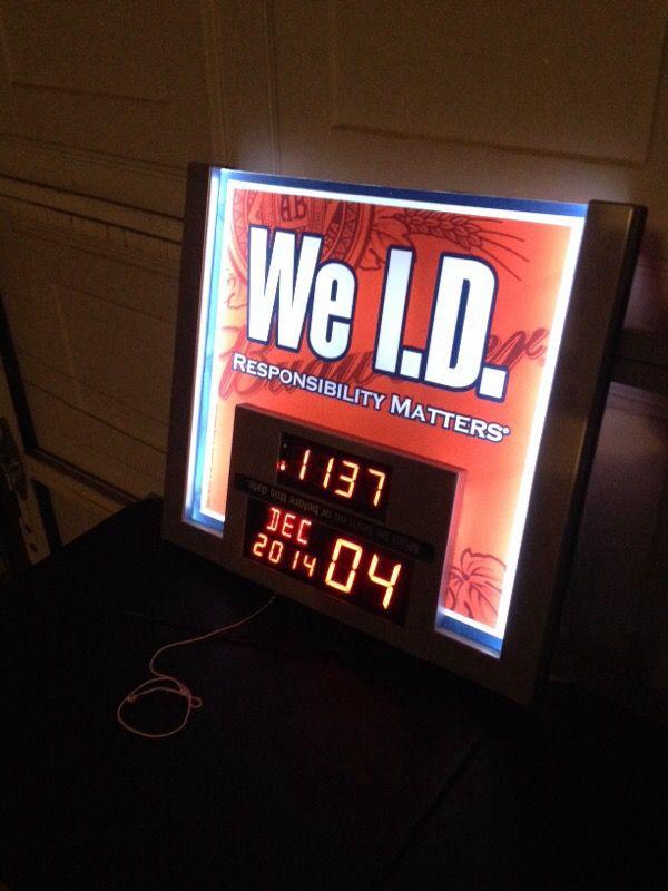 "Offerup Las Vegas >> Legal drinking age calendar/clock ""we I.D"" lighted sign ..."