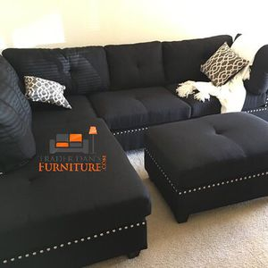 Brand new black linen sectional with ottoman