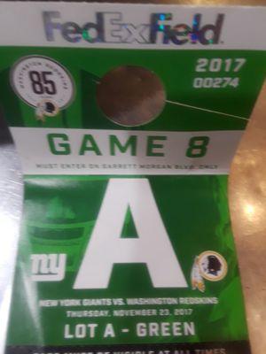 Giants at redskins parking ticket..
