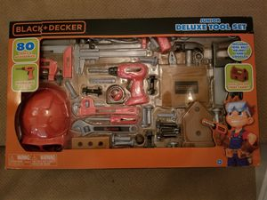 Brand new in box kids black and Decker 80pc tool kit