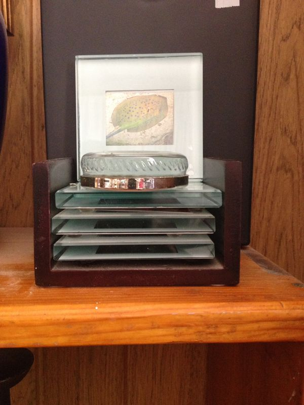 Set of picture frame coasters. With round picture frame paperweight ...