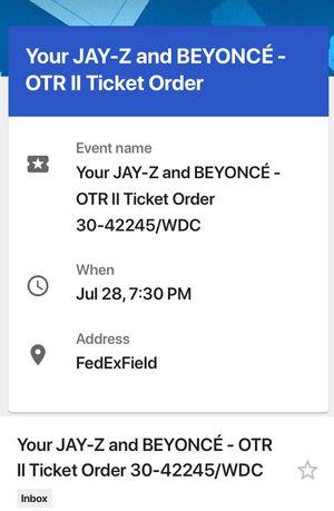 On The Run Tour Tickets Fedex Field Saturday July 28
