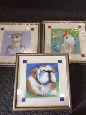 3 framed artwork-dogs