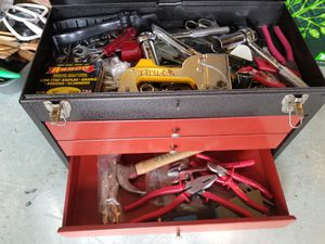 Tool box with tools: wrenches, pliers, screw drivers and much more
