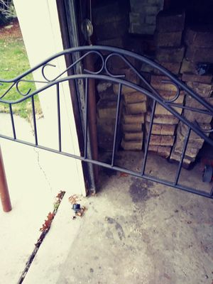 Iron/wood Queen size bed headboard. (Or make offer)