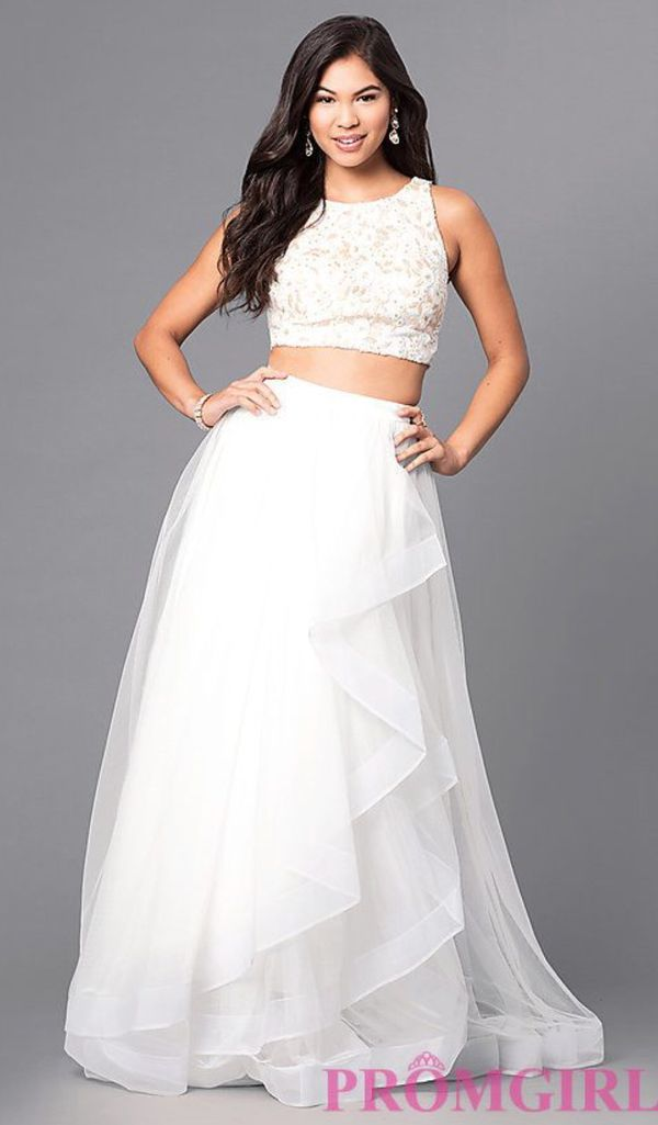 Two-Piece Ivory Long Prom Dress with Lace Top (Clothing & Shoes) in ...